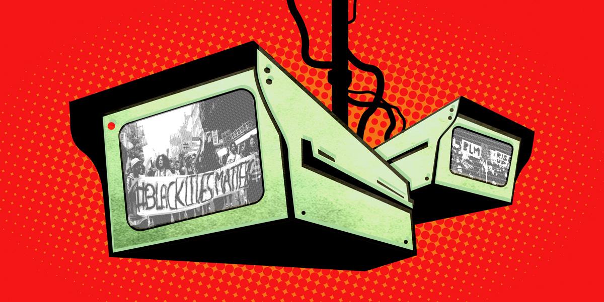 surveillance cameras spying on protestors