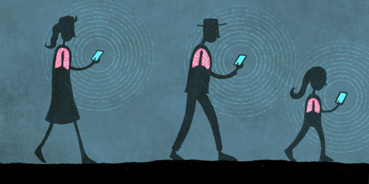 Two people walking with mobile devices, broadcasting a signal