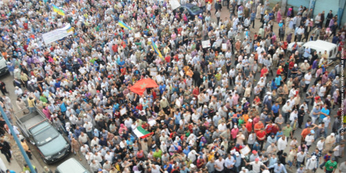 Young people protest in Morocco, 2011, photo by Magharebia