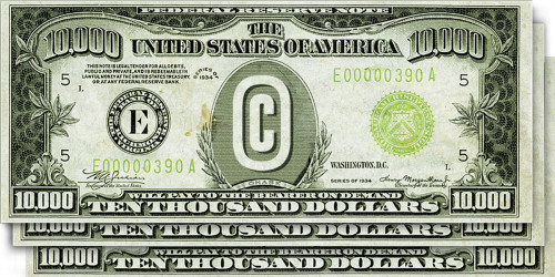 CASE Act: 3 $10k bills with copyright symbol in the center