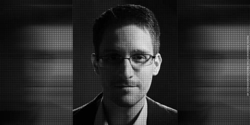 NSA whistleblower Edward Snowden in black and white