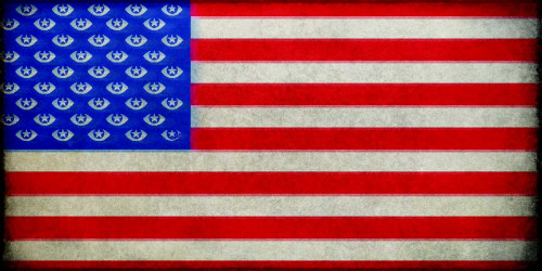US flag with spying eyes for stars