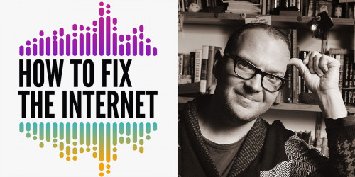 Podcast logo + Cory Doctorow photo