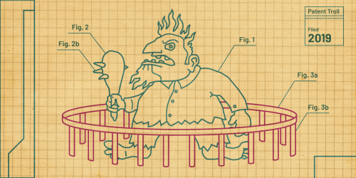 Patent Troll line art on graph paper; troll is in a small jail cell, ready to escape.