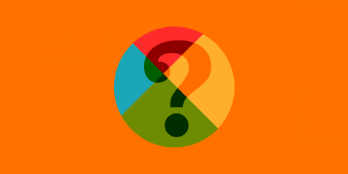 QTTD logo, question mark, on orange background
