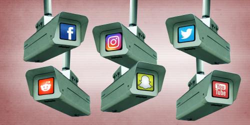 Surveillance cameras peering around, each with a social media company icon.