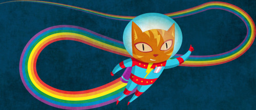 A flying cat in a space suit with a badge of the trans flag, leaving a rainbow trail.