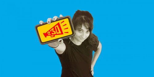 Stop SESTA: Woman Holds Phone with 230 Free Speech Icon