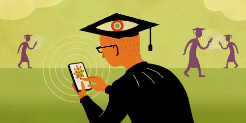 students in caps & gowns using phone tracking apps