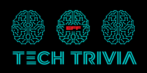 Three electric blue outlines of brainmatter on a black background with a red EFF logo in the middle.
