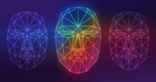 The angular outline of three faces as a computer might see them, colored like a rainbow