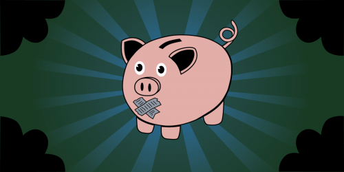 image of piggy bank with duct tape over its mouth